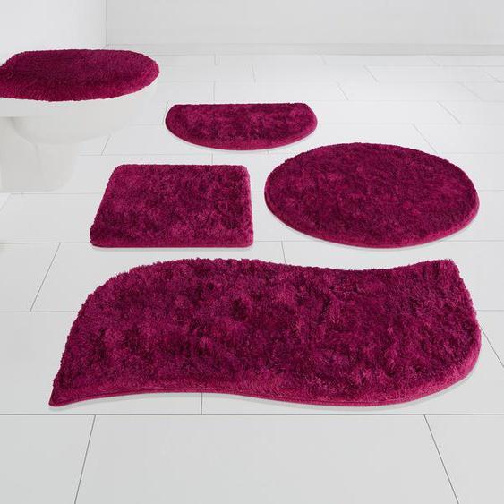 my home Badematte Merida, Höhe 32 mm, fußbodenheizungsgeeignet 80, wellenförmig 50x90 cm, mm rosa Einfarbige Badematten