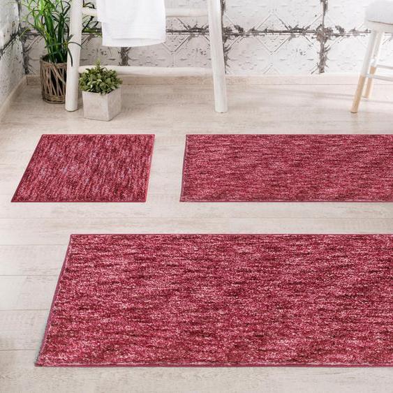 Badematte Mirage, Grund, Höhe 27 mm, rutschhemmend beschichtet 4, rechteckig 70x120 cm, mm rot Gemusterte Badematten