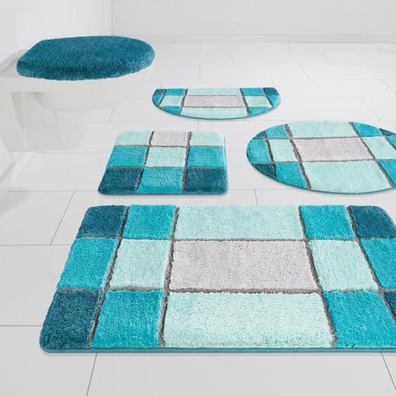 Badematte Pia, my home, Höhe 20 mm 11, 3-tlg. Stand-WC Set, blau Gemusterte Badematten