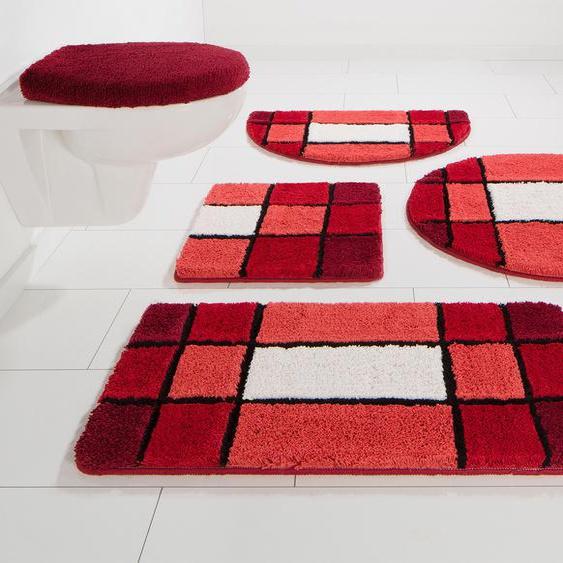 Badematte Pia, my home, Höhe 20 mm 3, rechteckig 60x100 cm, rot Gemusterte Badematten