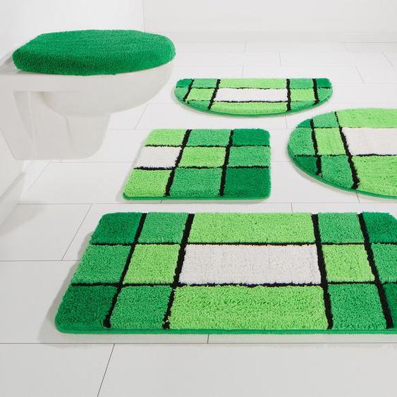 Badematte Pia, my home, Höhe 20 mm 6, rechteckig 90x160 cm, grün Gemusterte Badematten