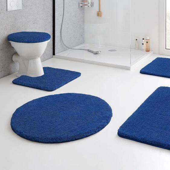 Badematte RELAX, Kleine Wolke, Höhe 30 mm, rutschhemmend beschichtet, fußbodenheizungsgeeignet 14, quadratisch mit Ausschnitt 55x55 cm, mm blau Einfarbige Badematten