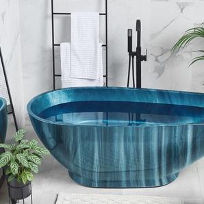 Badewanne freistehend marineblau Marmor Optik 170 x 80 cm RIOJA