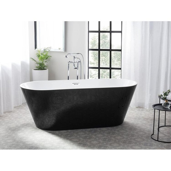 Badewanne freistehend oval schwarz-weiß CABRITOS