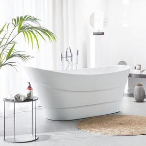 Badewanne freistehend weiß oval 170 x 73 cm BUENAVISTA