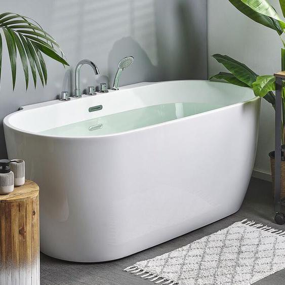 Badewanne mit Armatur freistehend weiß ROTTO