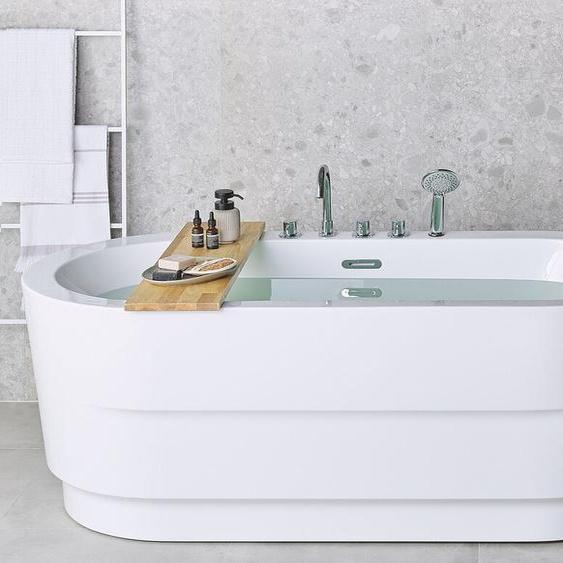 Badewanne mit Armatur weiß freistehend oval 170 cm EMPRESA