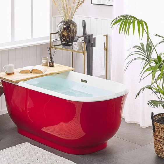Badewanne rot freistehend oval 170 cm TESORO