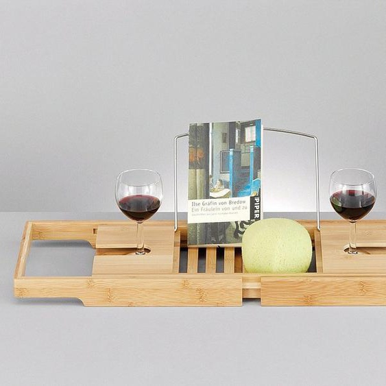 Badewannenablage »Bamboo«, Bambus, mit Getränkehalterungen und Buchhalterung, ausziehbar