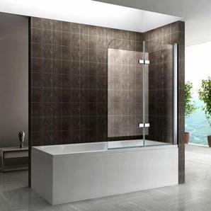 Badewannenabtrennung Badewannenfaltwand Nano Klarglas 140cm Höhe DK809 110x140 - I-FLAIR