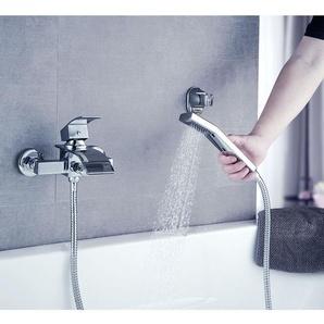 Badewannenarmatur mit Handbrause Duschsysteme Duscharmatur mit Wasserfall Auslauf Wannenarmatur Badarmatur inkl. Wandhalterung Einhandmischer Wasserhahn für Bad Dusche, Chrom - BONADE