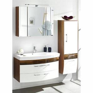 Badezimmer mit 100cm Waschtisch Set RIMAO-100 Hochglanz weiß, Walnuss Nb.,