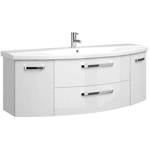 Badezimmer 140cm Waschtisch Hochglanz weiß FES-4010-66 mit Keramik Waschbecken - B/H/T: 144/54/50cm
