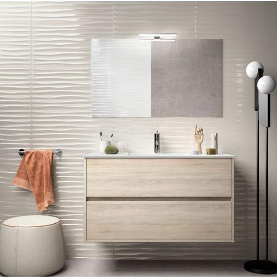 Badezimmer Badmöbel 100 cm aus braunem Holz Caledonia mit Porzellan Waschtisch | mit Kolonne - CAESAROO