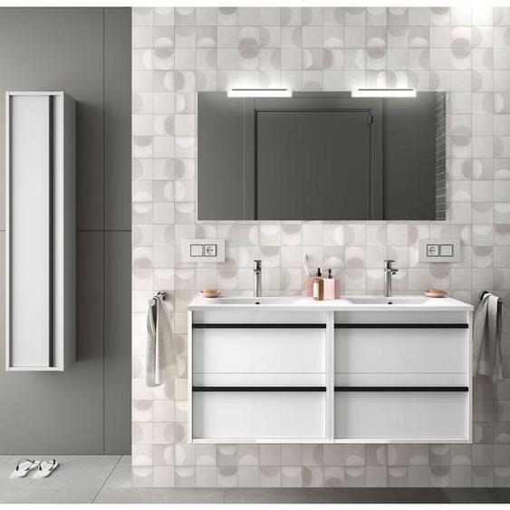 Badezimmer Badmöbel 120 cm aus glänzendes Weiß Holz mit vier Schubladen | 120 cm - mit Doppelspiegel und LED Lampe - CAESAROO