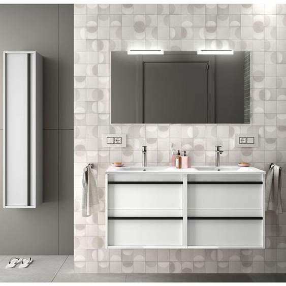 Badezimmer Badmöbel 120 cm aus glänzendes Weiß Holz mit vier Schubladen | Standard - 120 cm - CAESAROO