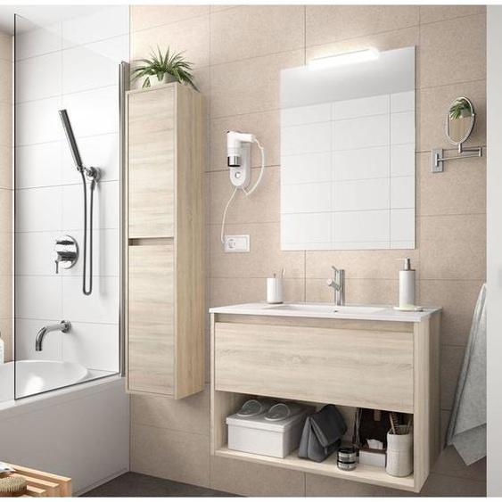 Badezimmer Badmöbel 80 cm aus braun Caledonia Holz mit Schublade und Fächer | 80 cm - Mit Doppelsäule, Spiegel und Led-Lampe - CAESAROO