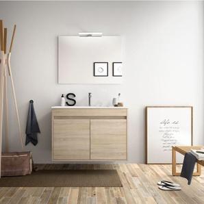 Badezimmer Badmöbel 80 cm aus braunem Holz Caledonia mit zwei Türen | mit Kolonne, Spiegel und LED Lampe - BAGNO