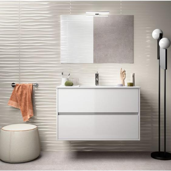 Badezimmer Badmöbel 90 cm aus glänzend weiß lackiertem Holz mit Porzellan Waschtisch | Standard - CAESAROO