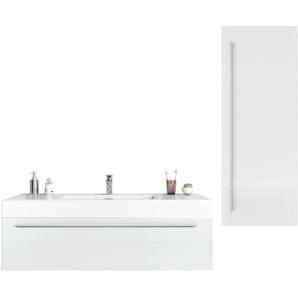 Badezimmer Badmöbel Set Garcia 120cm Hochglanz weiß - Unterschrank Hochschrank Waschbecken Waschtisch - BADPLAATS