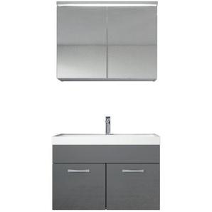Badezimmer Badmöbel Set Paso 02 80cm Waschbecken Hochglanz Grau Fronten - Unterschrank Schrank Waschbecken Spiegelschrank Schrank - BADPLAATS