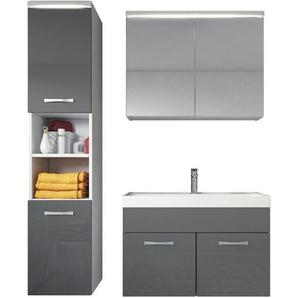 Badezimmer Badmöbel Set Paso LED 80cm Waschbecken Hochglanz Grau Fronten - Unterschrank Hochschrank Waschbecken Spiegelschrank - BADPLAATS