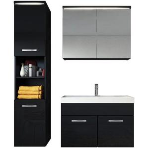 Badezimmer Badmöbel Set Paso LED 80cm Waschbecken Hochglanz Schwarz Fronten - Unterschrank Hochschrank Waschbecken Spiegelschrank - BADPLAATS