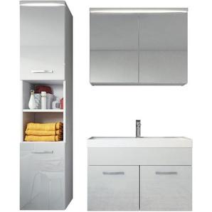 Badplaats - Badezimmer Badmöbel Set Paso LED 80cm Waschbecken Hochglanz Weiß Fronten - Unterschrank Hochschrank Waschbecken Spiegelschrank