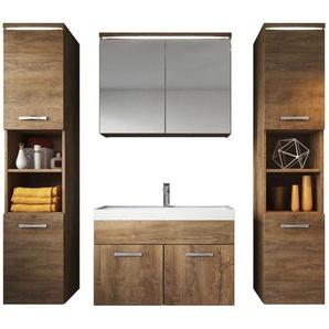 Badezimmer Badmöbel Set Paso xl LED 80cm Lefkas (braun) - Unterschrank 2x Hochschrank Waschbecken Möbel - BADPLAATS