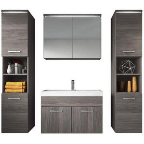 Badezimmer Badmöbel Set Paso xl LED 80cm Waschbecken Bodega (grau) - Unterschrank 2x Hochschrank Waschbecken Möbel - BADPLAATS