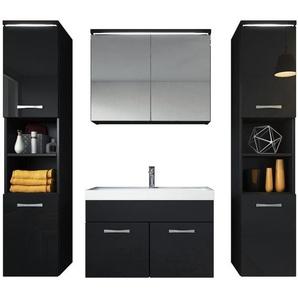 Badezimmer Badmöbel Set Paso xl LED 80cm Waschbecken Hochglanz Schwarz Fronten - Unterschrank 2x Hochschrank Waschbecken Möbel - BADPLAATS
