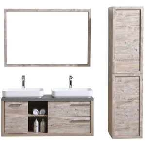 Badezimmer Badmöbel Set Vermont 120cm nature wood - Unterschrank Schrank Waschbecken Waschtisch Hochschrank - BADPLAATS