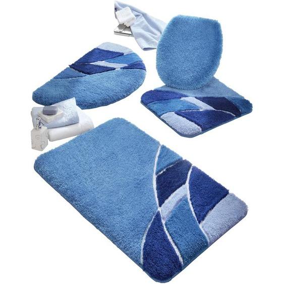 Badezimmer-Garnitur 4 (50x50 cm WC-Vorlage mit Ausschnitt) blau Gemusterte Badematten Badgarnituren