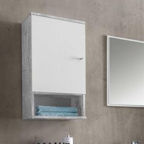 Badezimmer Hängeschrank in Weiß Grau Beton Optik 35 cm breit