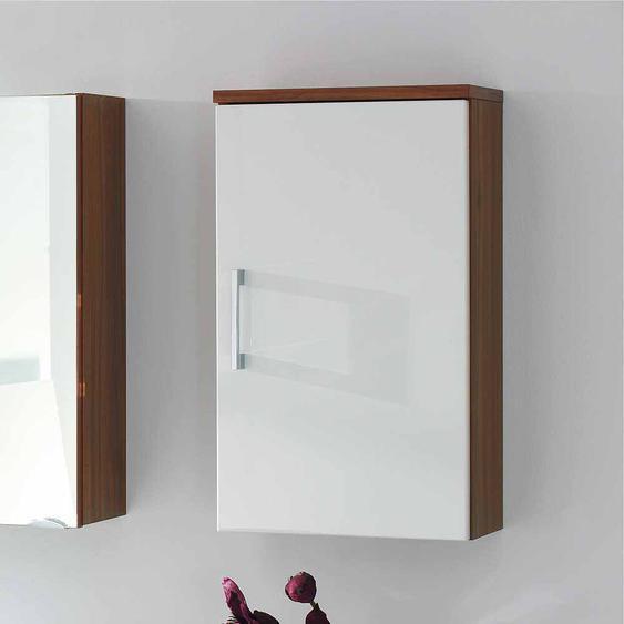Badezimmer Hängeschrank in Weiß Hochglanhz Walnuss 40 cm breit