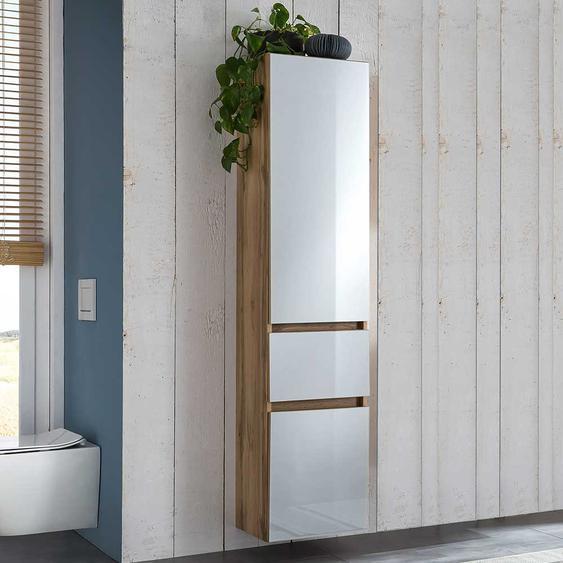 Badezimmer Hochschrank in Weiß und Wildeiche Optik 185 cm hoch