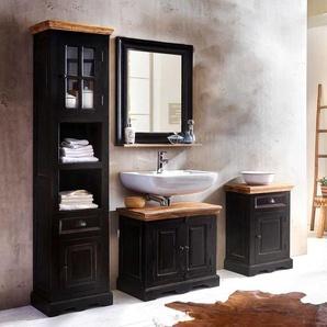 Badezimmer Kombination im Kolonialstil Schwarz und Honigfarben (4-teilig)