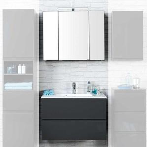 Badezimmer Kombination in Anthrazit Hochglanz LED Beleuchtung (2-teilig)