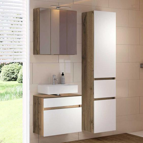 Badezimmer Kombination in Weiß Wildeichefarben (3-teilig)
