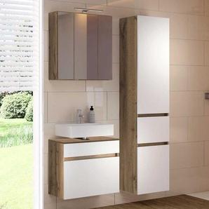 Badezimmer Kombination in Weiß Wildeichefarben (dreiteilig)