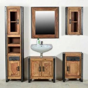 Badezimmer Komplettset aus Sheesham Massivholz Altmetall (5-teilig)