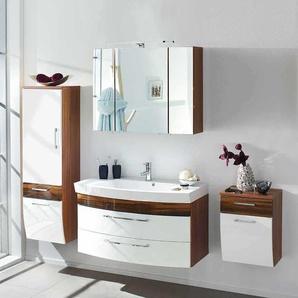 Badezimmer Komplettset in Hochglanz Wei� Walnuss (4-teilig)