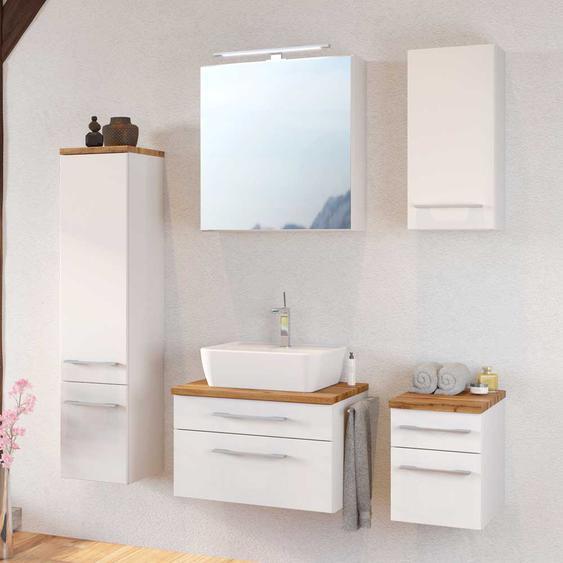 Badezimmer Komplettset in Weiß und Wildeiche Dekor LED Beleuchtung (5-teilig)