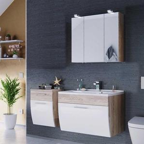Badezimmer Komplettset in Wei� Hochglanz Eiche hell h�ngend (3-teilig)