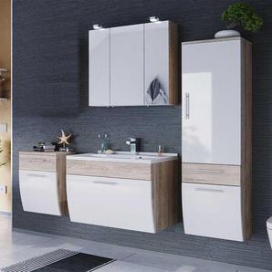 Badezimmer Komplettset mit Spiegelschrank und Waschtisch Wei� Hochglanz Eiche hell (4-teilig)