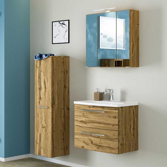 Badezimmer Möbel in Wildeichefarben 90 cm breit (3-teilig)