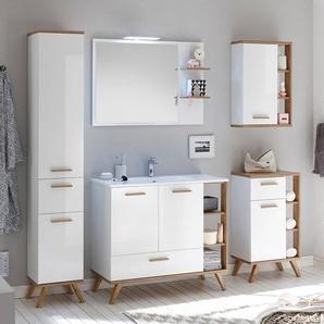 Badezimmer Möbel MALANJE-66 Set in weiß glänzend & Riviera Eiche quer Nb., mit Waschtisch - B/H/T: 217x205x46cm
