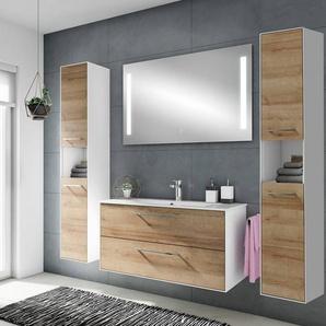 Badezimmer Möbel-Set FES-3065-66 100cm Waschplatz mit Spiegel und Hochschrank in weiß matt & Riviera Eiche Nb. - B/H/T: 192,6x166,8x44,7cm