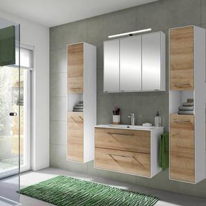 Badezimmer Möbel-Set FES-3065-66 Waschplatz mit Spiegelschrank Hochschrank in weiß matt & Riviera Eiche Nb. - B/H/T: 162,60x166,8x44,7cm