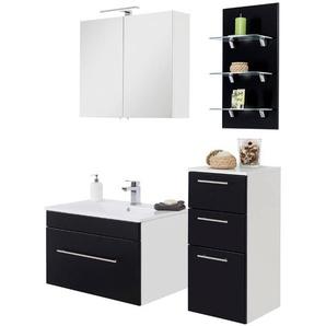 Badezimmer Möbel Set LAGOS-02 mit Keramik-Waschtisch Seidenglanz schwarz, B x H x T ca. 125,2 x 195 x 48cm